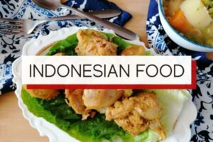 indonesian food with overlay text