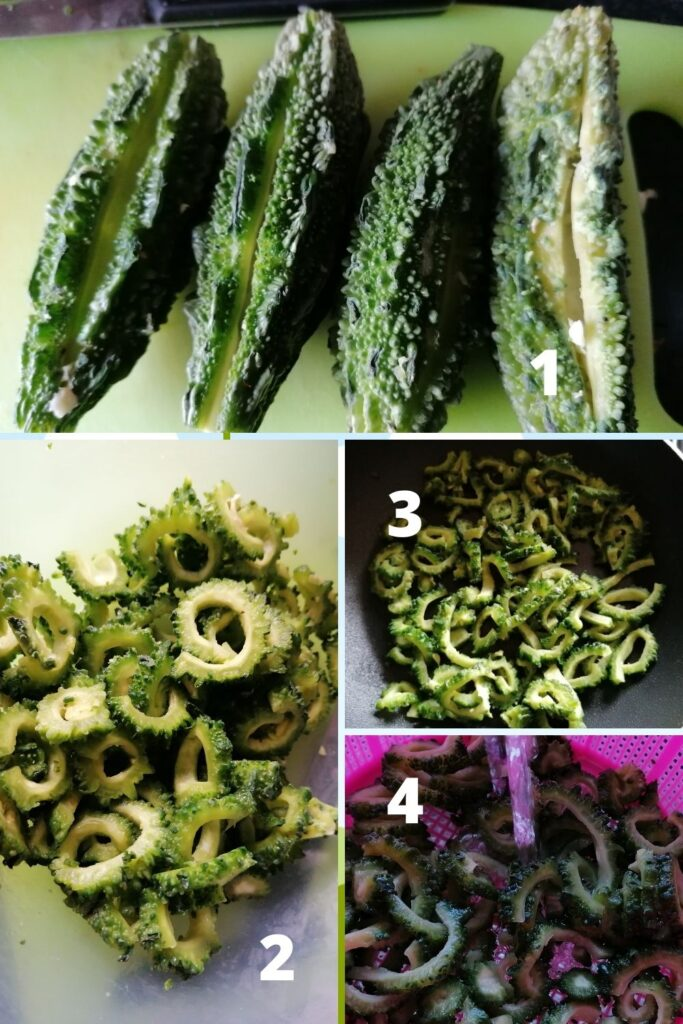 photo collage of how to prepare karela the bitter gourd for cooking