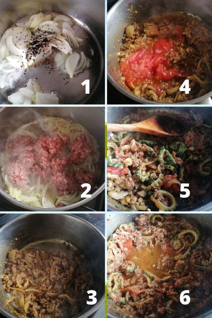 photo collage of how to cook keema karela the minced meat with bitter gourd curry