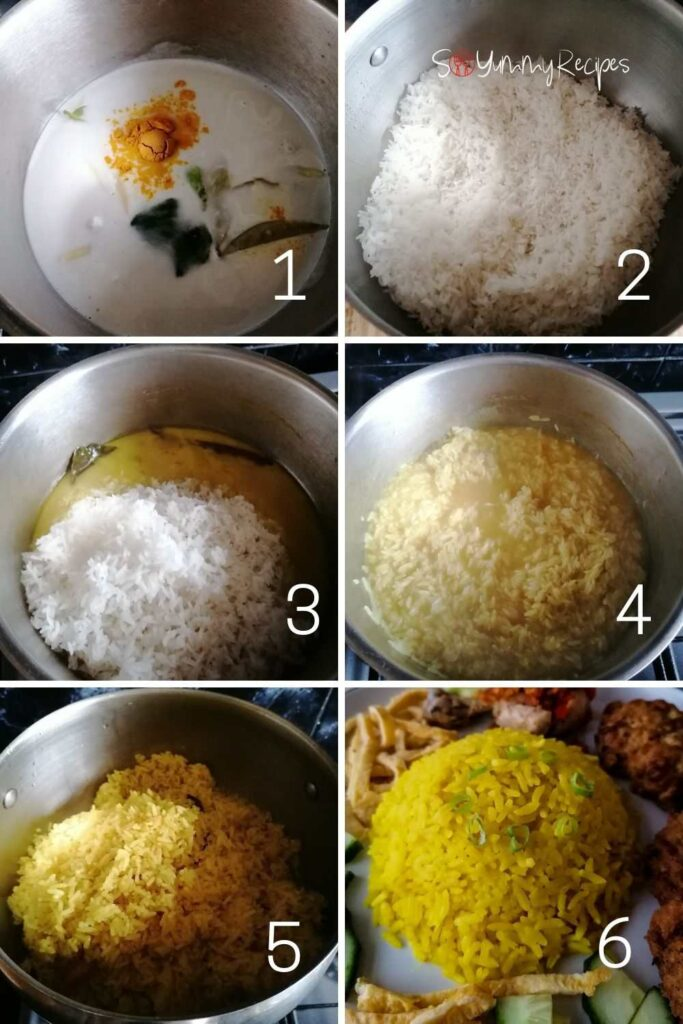 a photo collage of how to cook Nasi Kuning