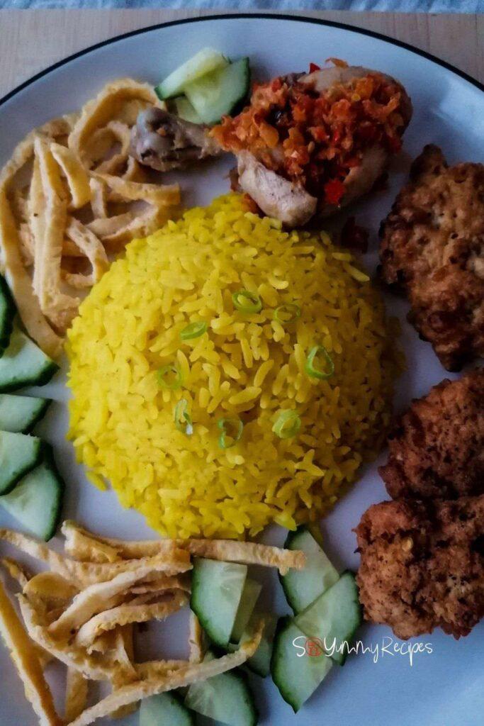 the Indonesian yellow rice - Nasi Kuning