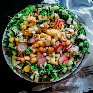 Apple, Melon And Pineapple Salad With Balsamic Vinegar