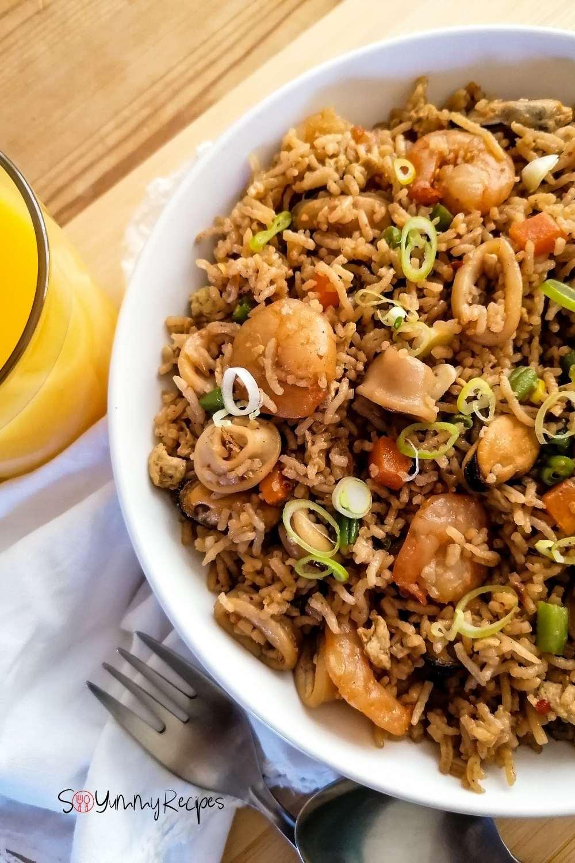 a dish of Indonesian nasi goreng seafood