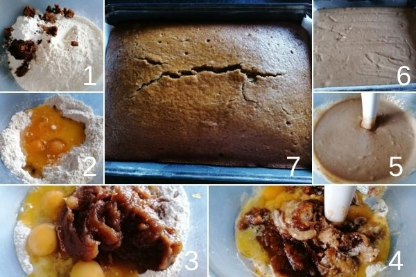 photo collage of making the cake for sticky toffee pudding