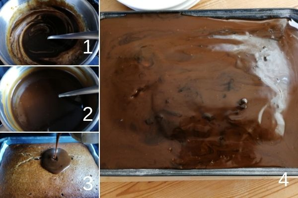 photo collage of making toffee sauce and pouring over the cake