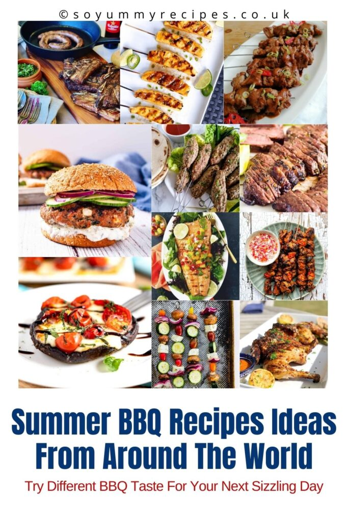 photo collage with overlay text of summer bbq recipes ideas from around the world