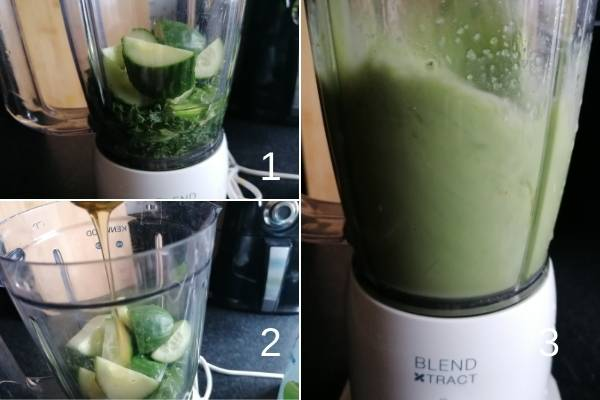 photo collage of how to make cucumber and kale smoothie