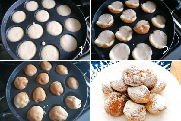 photo collage of cooking poffertjes