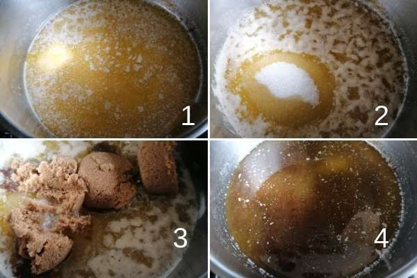 photo collage of melting butter mixed with sugars