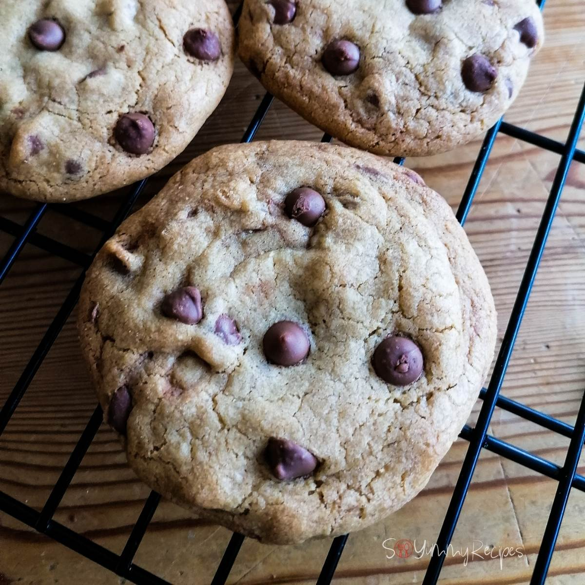 soft and chewy chocolate chip cookies on a cooling rack