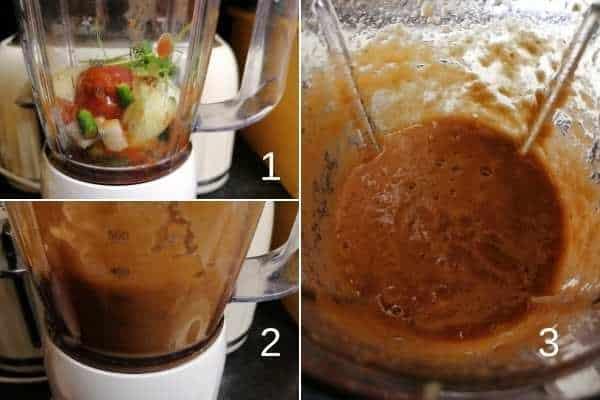 photo collage of how to make Pakistani tomato and chilli chutney