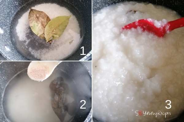 photo collage of making rice congee