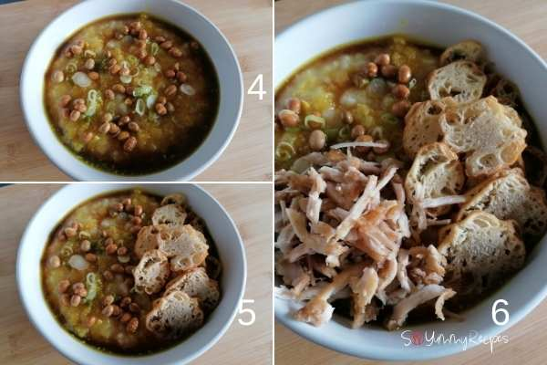 photo collage of how to assemble Bubur Ayam