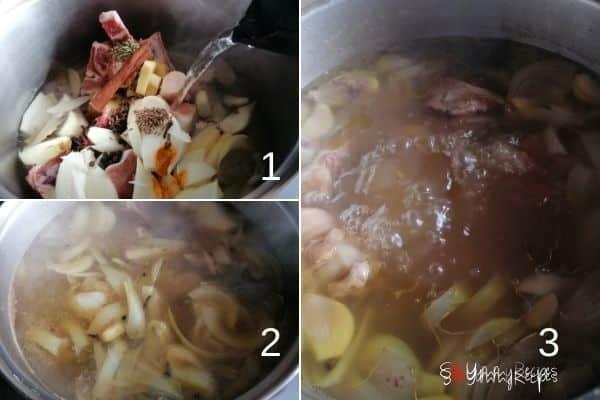 photo collage of making yakhni mutton bone soup.
