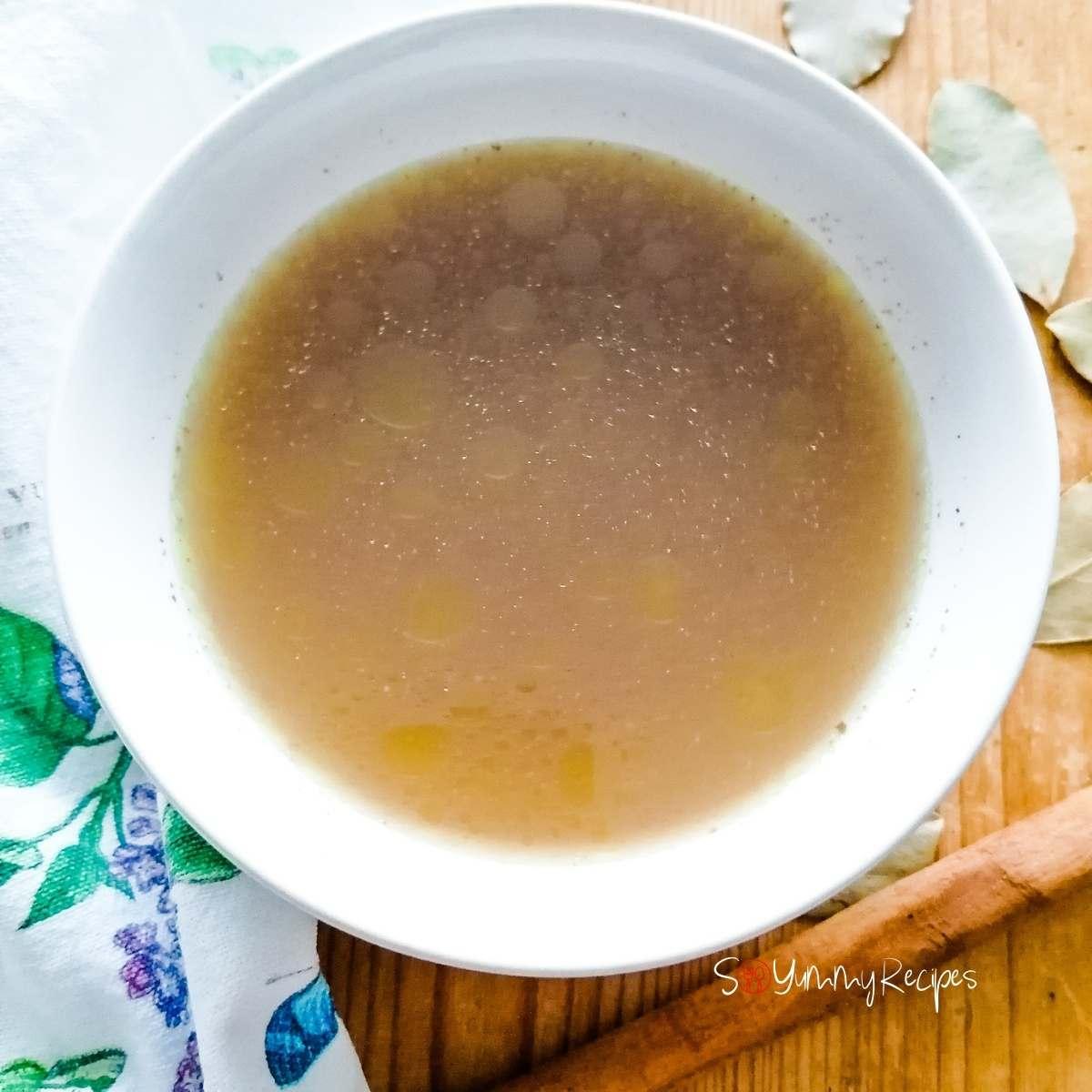 A bowl of Yakhni mutton bone soup Pakistani style.