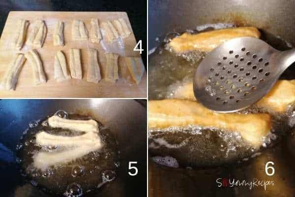 photo collage of frying Cakwe.