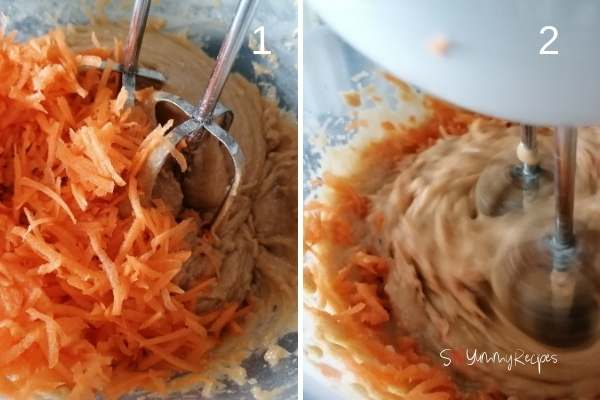 photo collage of adding grated carrots in the cake batter
