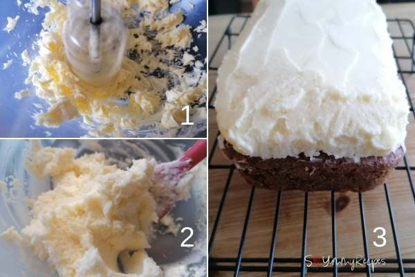 photo collage of making mascarpone cheese frosting