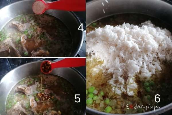 photo collage of how to make mutton yakhni pulao rice.