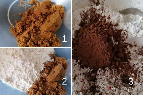 photo collage of soft brown sugar, flour and brown sugar mix, and flour and cocoa powder mix.