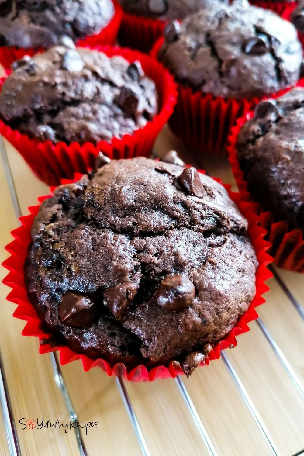 Double chocolate chip muffins in red paper cases on a cooling rack.