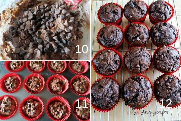 photo collage of making double chocolate chip muffins.
