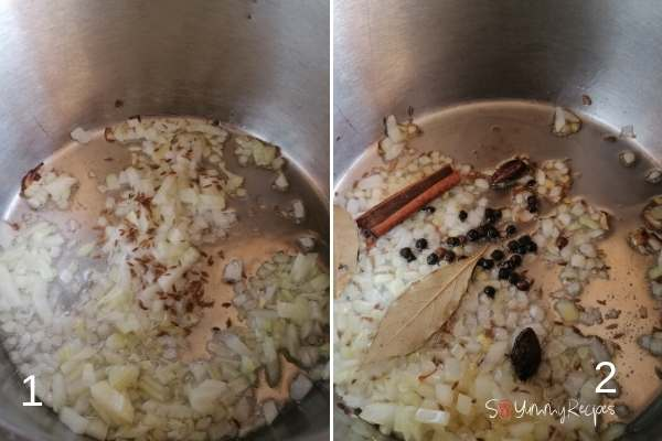 photo collage of frying the chopped onion and whole spices.