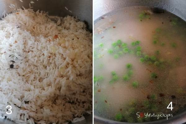photo collage of boiling rice with green peas.