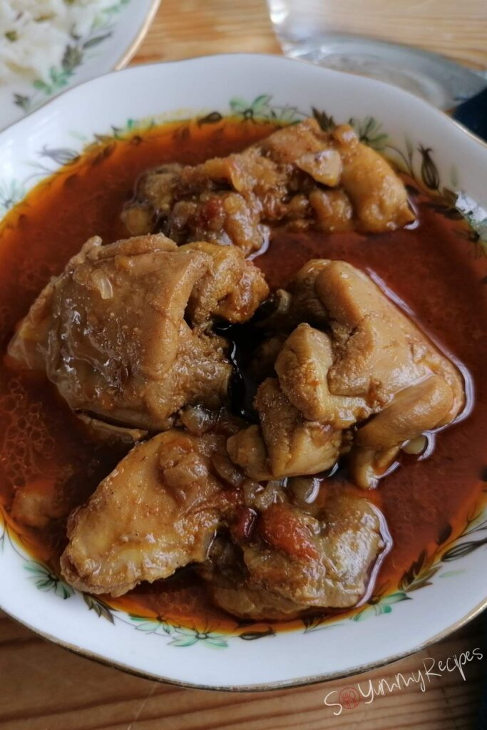 Chicken curry with soup in Pakistani style.
